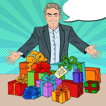 Salesman with discounted gifts