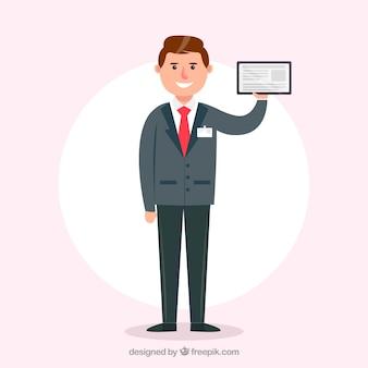 Salesman with id card