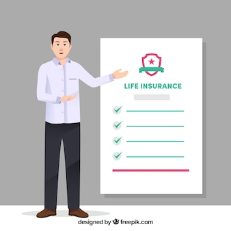 Salesman with life insurance contract