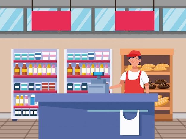 Продавец продавец на сцене супермаркета