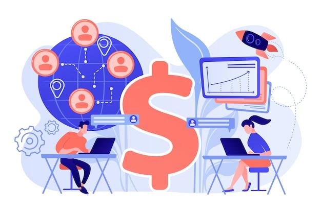Team di venditori che lavorano in remoto con i clienti di tutto il mondo e il simbolo del dollaro. vendite virtuali, metodo di vendita a distanza, illustrazione del concetto di team di vendita virtuale