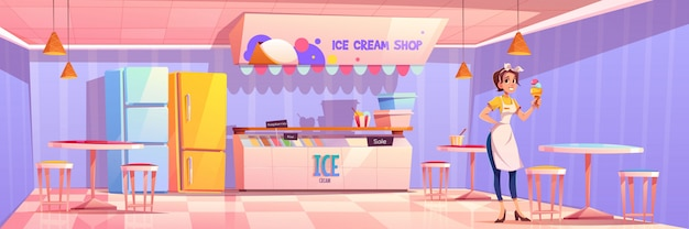 Продавщица в магазине мороженого или салоне или кафе