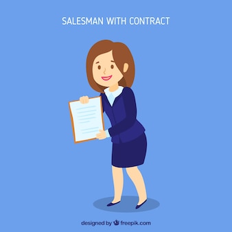 Saleswoman with contract