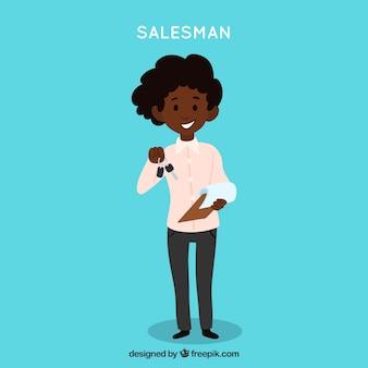 Saleswoman with keys