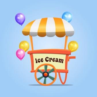 風船でゲーム要素をsalingするためのアイスクリームカート