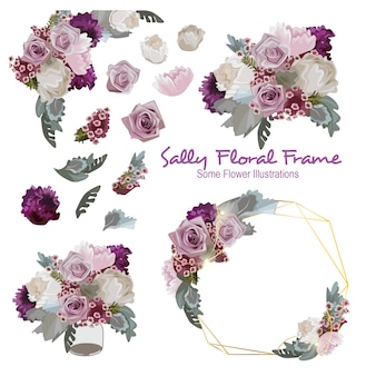 Sally geometrical  floral frame ornament