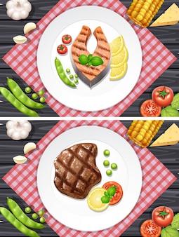 サーモンと牛肉のステーキ