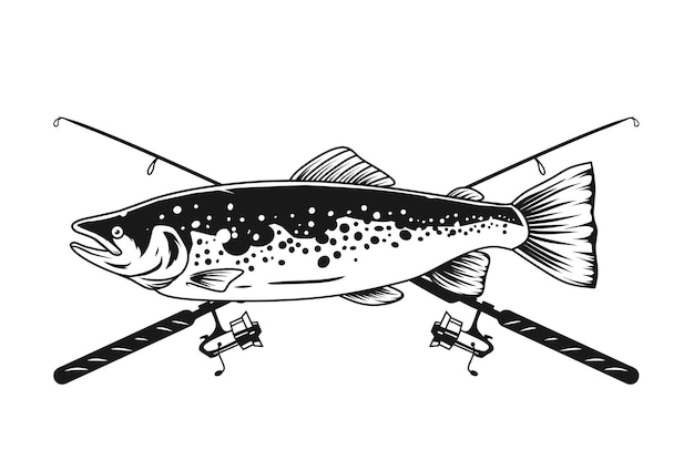 Дизайн лосося и крючка