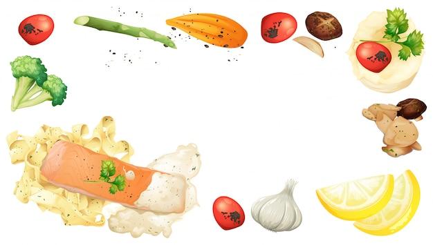 Элемент лосося и макарон на белом фоне