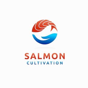 Логотип выращивания лосося лосось вектор с элементом руки