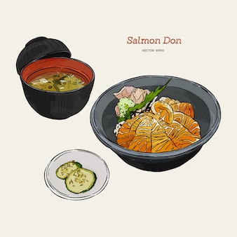 Salmon donburi set, hand draw sketch vector. japanese food