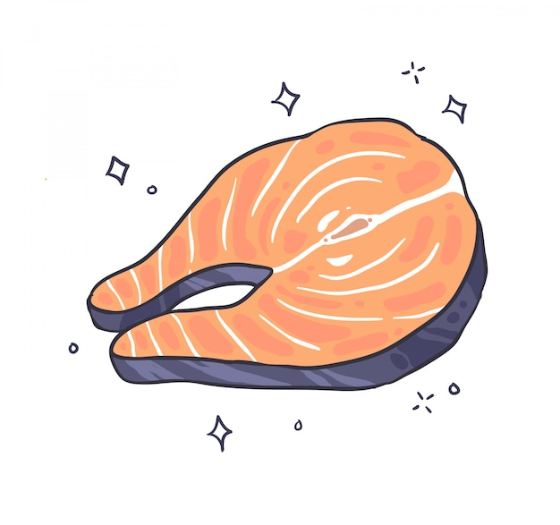 Salmon doodle fish illustration