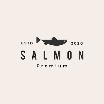 Salmon fish hipster vintage logo  icon illustration