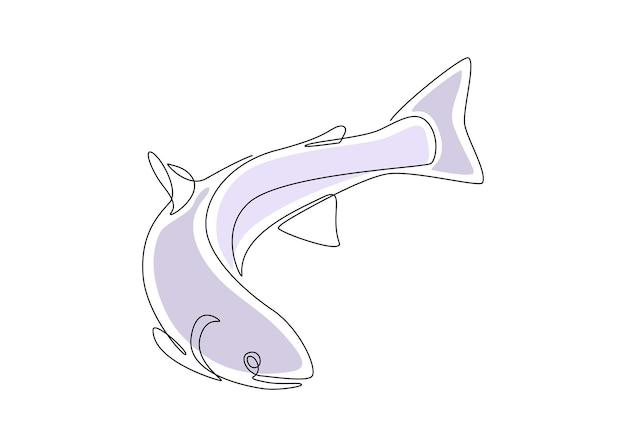 Лососевая рыба в одной непрерывной линии, рисующая дикая форель в линейном стиле эскиза с формами синего цвета ...