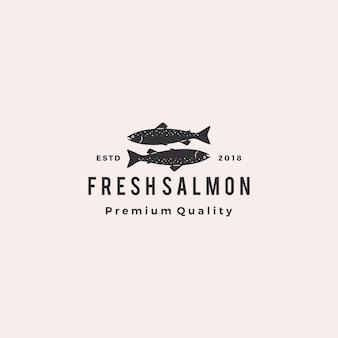 Логотип лосося рыбы морепродукты ретро хипстер старинные ярлык значок