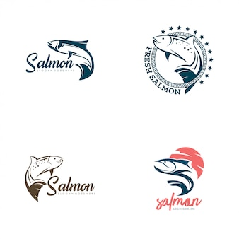 Salmon fish logo set vector