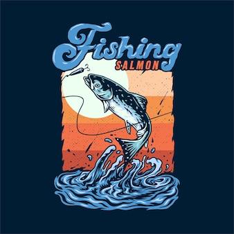 Salmon fishing hand drawn line style with digital color illustration