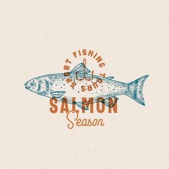 サーモン釣りシーズン。抽象的なベクトルの記号、記号またはロゴのテンプレート。
