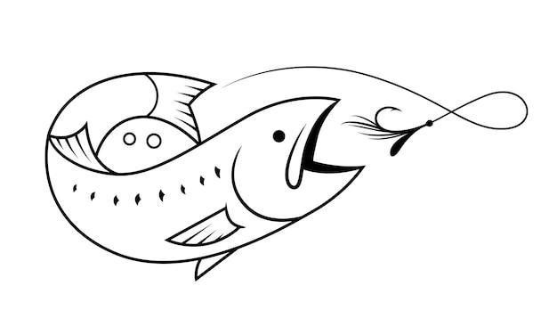 白、ベクトルに黒い線で描く鮭釣りシンボル