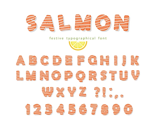 Salmon font isolated on white.