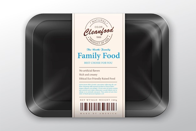 Salmon packaging illustration white foam tray with plastic film mockup modern style fish label