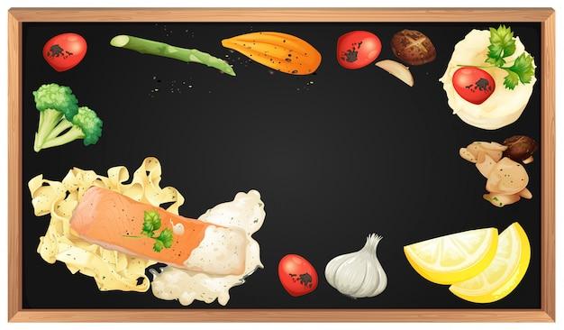Паста и элемент лосося на доске