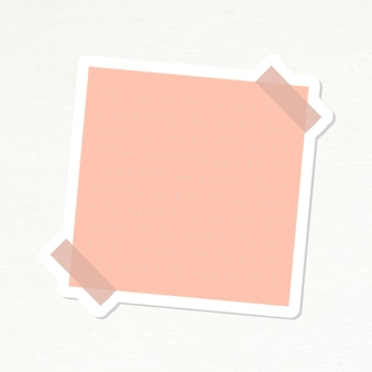 サーモンピンクの点線の便箋ジャーナルステッカーベクトル