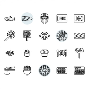 Salmon related thin line icon set