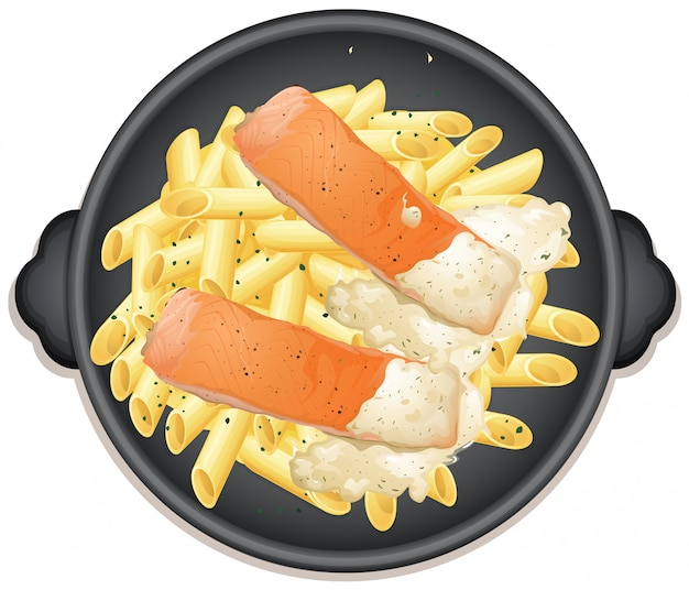 Стейк из лосося и сливочный соус пенне