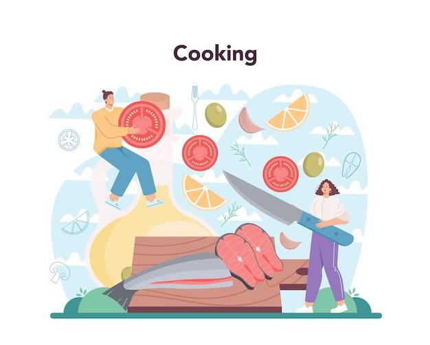 연어 스테이크. 레몬과 함께 접시에 구운 생선 스테이크를 요리하는 요리사