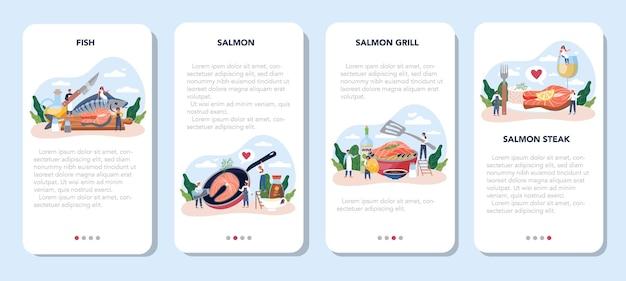 サーモンステーキモバイルアプリケーションバナーセット。グリルした魚のステーキをレモンで皿に調理するシェフ。夕食や昼食に美味しい魚の切り身。美味しい食事。