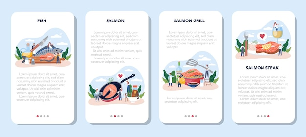 Salmon steak mobile application banner set. chef cooking grilled fish steak on the plate with lemon. tasty fish fillet for dinner or lunch. delicious meal.