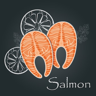 Стейк из лосося на темном фоне. ломтик красной рыбы лосось. концепция питания морепродуктов. иллюстрация.