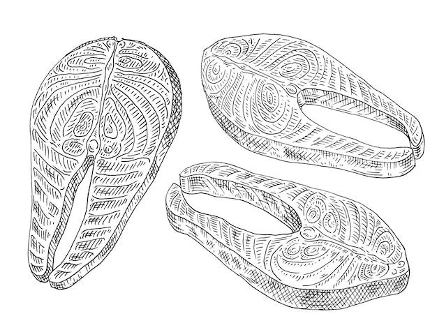 Стейк из лосося на белом фоне винтаж вектор гравировка монохромный черный иллюстрации