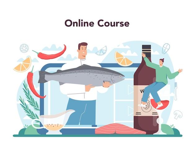 연어 스테이크 온라인 서비스 또는 플랫폼. 레몬 접시에 구운 생선 스테이크를 요리하는 요리사. 저녁 식사로 생선 필레. 온라인 코스. 평면 벡터 일러스트 레이 션