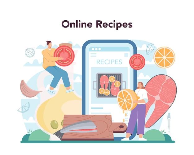 연어 스테이크 온라인 서비스 또는 플랫폼. 레몬 접시에 구운 생선 스테이크를 요리하는 요리사. 저녁 식사로 생선 필레. 온라인 조리법. 평면 벡터 일러스트 레이 션