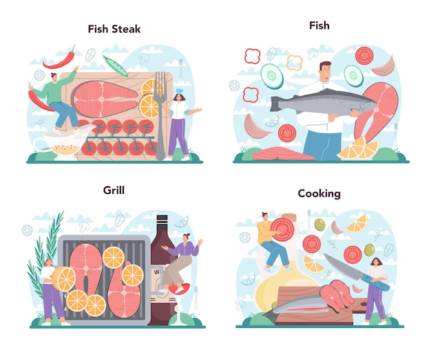 Набор стейков из лосося. шеф-повар готовит рыбный стейк на тарелке с лимоном