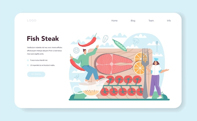 Salmon steak web banner or landing page. chef cooking grilled fish steak