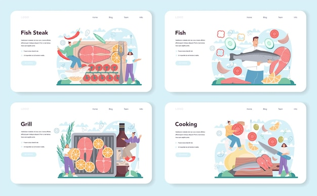Salmon steak web banner or landing page set. chef cooking grilled fish steak on the plate with lemon. tasty fish fillet for dinner or lunch. delicious meal. flat vector illustration