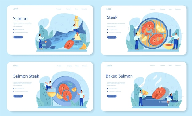 Salmon steak web banner or landing page set