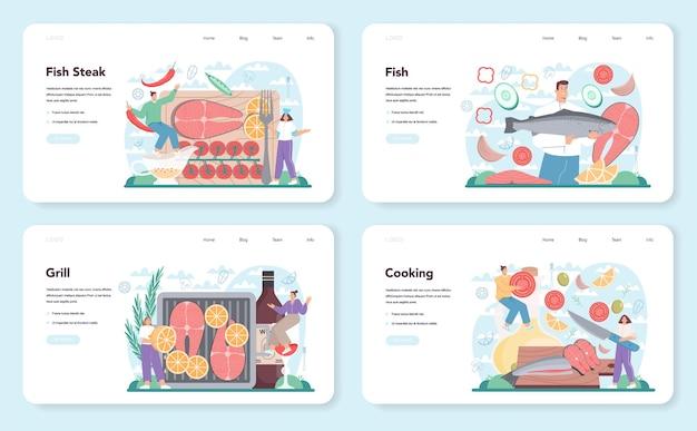 연어 스테이크 웹 배너 또는 방문 페이지 세트. 레몬 접시에 구운 생선 스테이크를 요리하는 요리사. 저녁이나 점심에 맛있는 생선 필레. 맛있는 식사. 평면 벡터 일러스트 레이 션