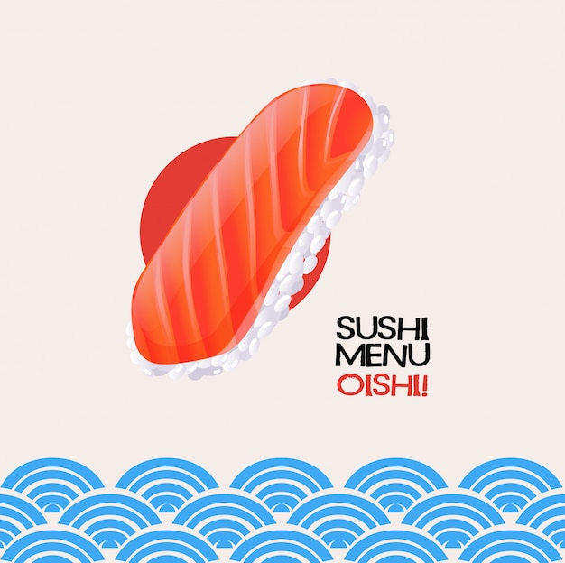 Salmon sushi on japanese card