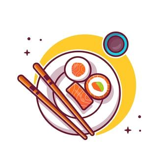 プレート漫画アイコンイラストを箸でサーモン寿司。分離された日本食のアイコンのコンセプト。フラット漫画のスタイル