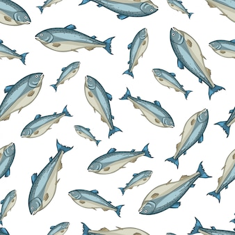 Salmon vector seamless pattern on white