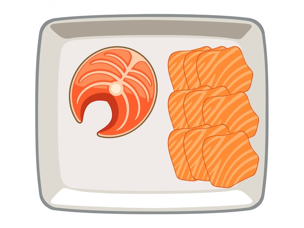 Salmon vector sliced ​​and sliced ​​in a plate on a white background.