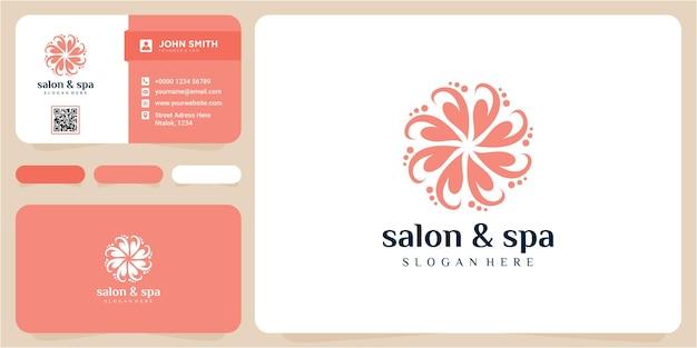 Концепция дизайна логотипа салона и спа. природа вдохновения дизайн логотипа. шаблон дизайна логотипа салона спа природа с визитной карточкой