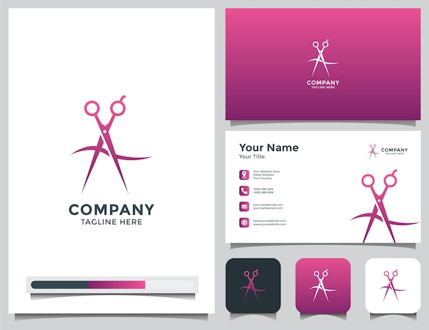 Salon or barber shop logo and business card