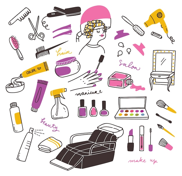Salon and beauty product doodle set