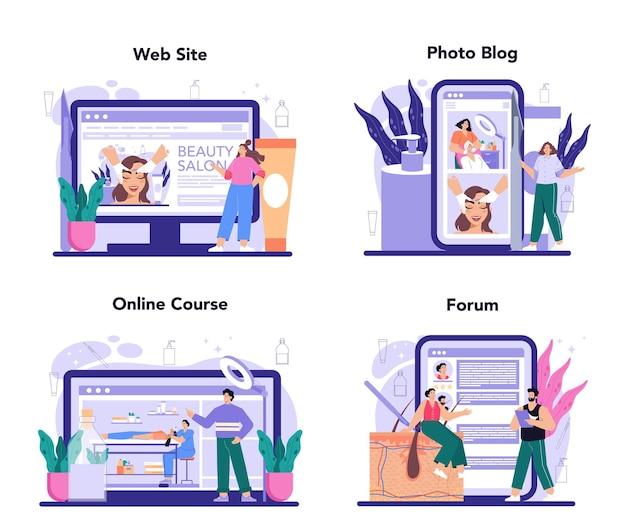 サロンdermaplaning手順オンラインサービスまたはプラットフォームセット。美容フェイスシェービング手順。角質除去とクレンジングトリートメント。オンラインコース、フォーラム、写真ブログ、ウェブサイト。ベクトルイラスト