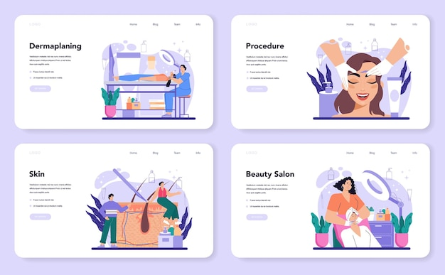 Salon dermaplaning procedure web banner or landing page set. cosmetology face shaving procedure. exfoliating and cleansing treatment for problematic skin. flat vector illustration